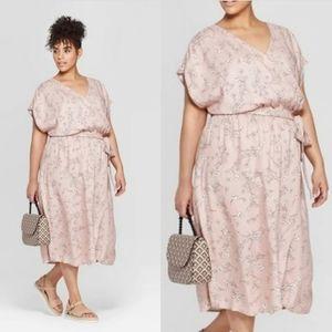 AVA & VIV plus women's pink floral faux wrap dress